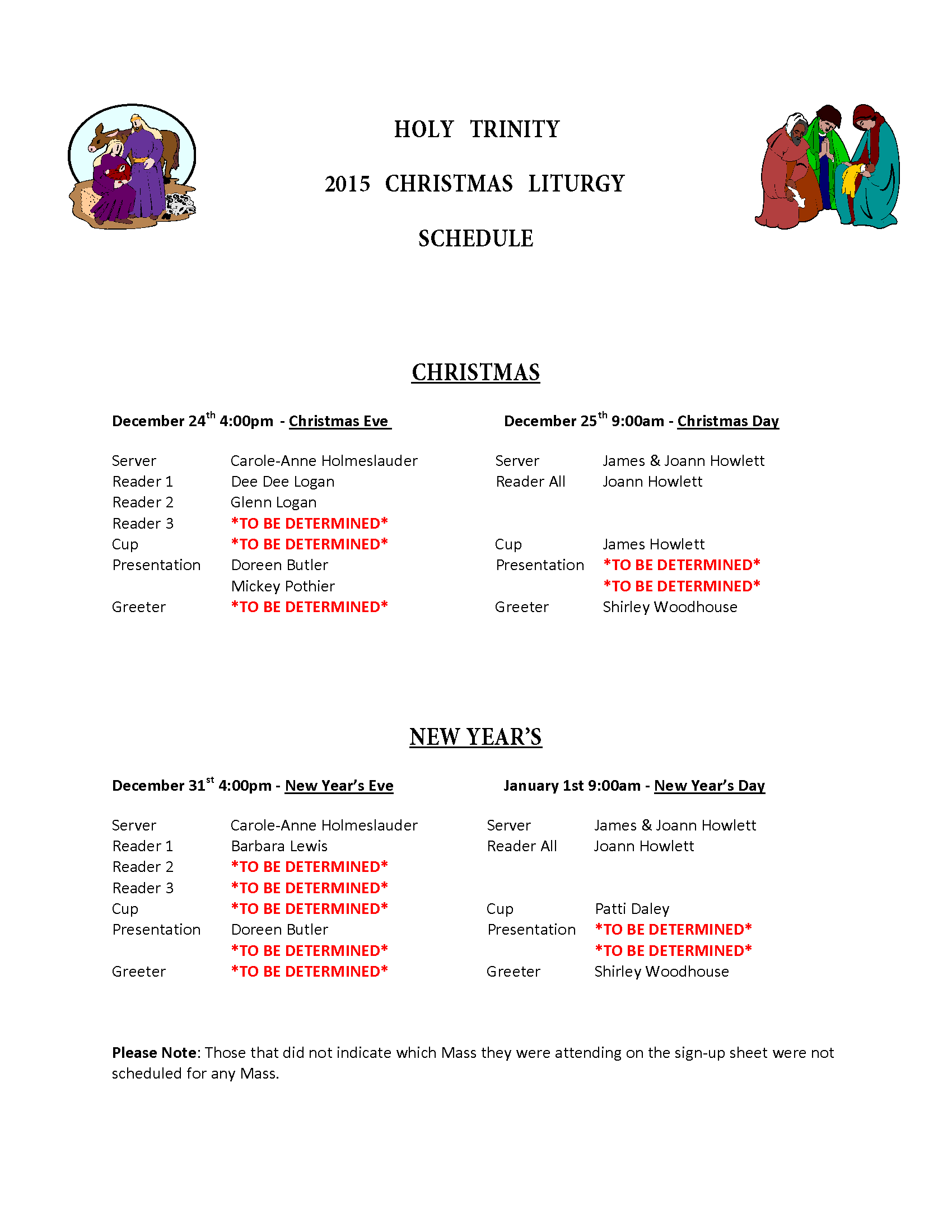 Christmas Ministry Schedule